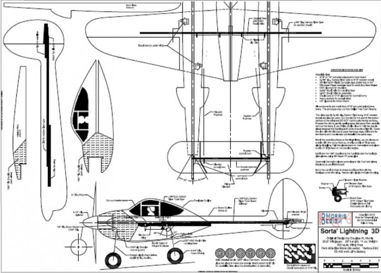 Sorta Lightning 3D model airplane plan