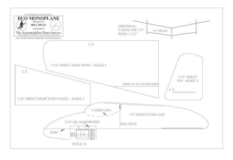 Duo Monoplane BW vector model airplane plan