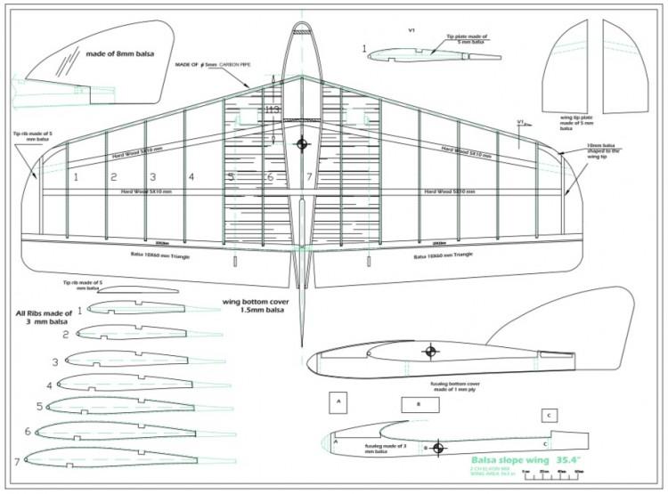 slope wing glider model airplane plan