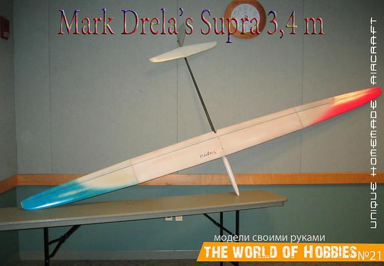 The Supra 3.4m TD/F3J Sailplane model airplane plan