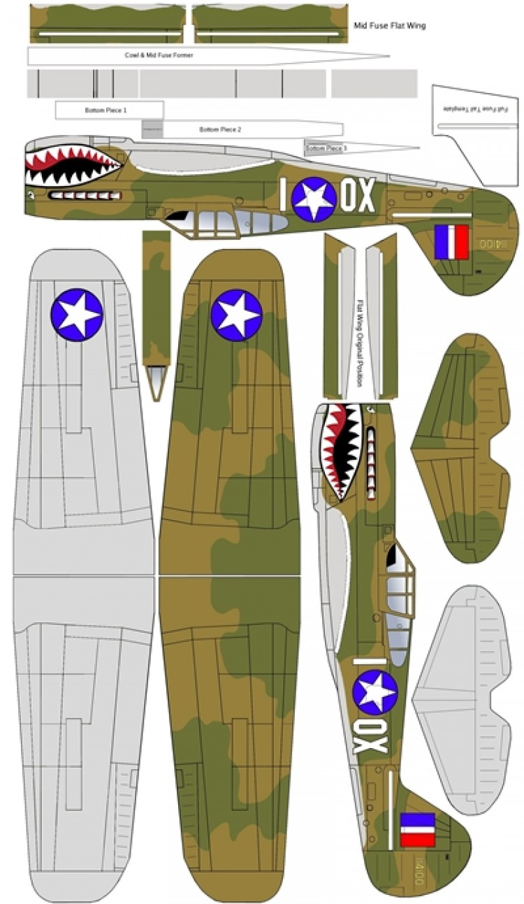 P-40 29 inch WS model airplane plan