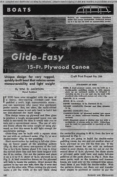 Glide Easy Canoe model airplane plan