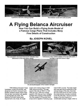 Belanca Aircruiser (with article) model airplane plan