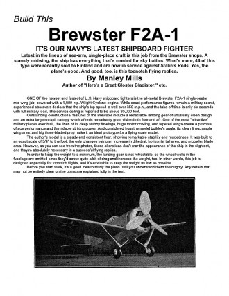 Brewster F2A-1 (with article) model airplane plan