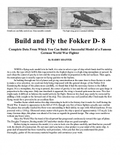 Fokker D- 8 model airplane plan