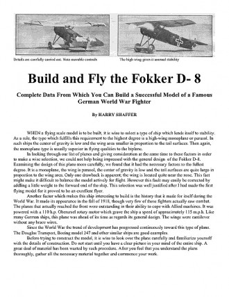 Fokker D- 8 model airplane plan