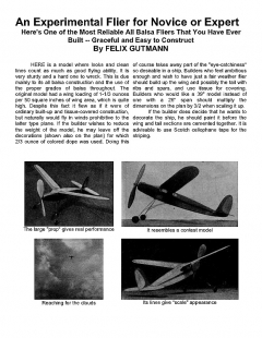 Experimental Flyer model airplane plan