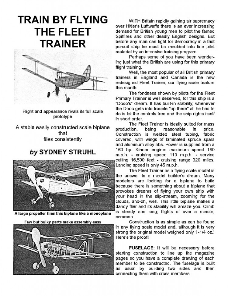 Fleet Trainer model airplane plan