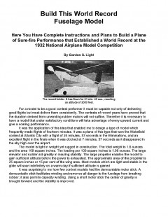 GS Light model airplane plan