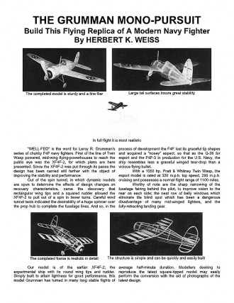 Grumman XF4F-2 (with article) model airplane plan