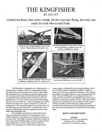 Kingfisher model airplane plan
