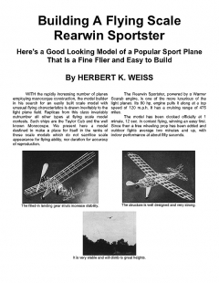 Rearwin Sportster scale model airplane plan