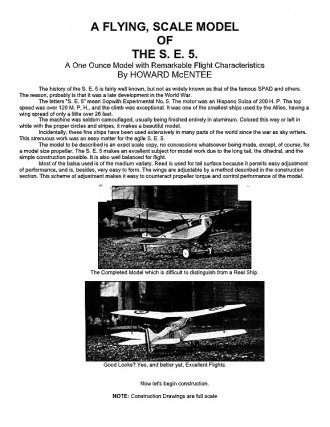 SE5 model airplane plan