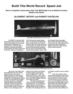 Build This World Record Speed Job. model airplane plan