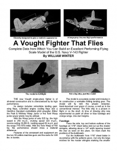 Vought Fighter model airplane plan
