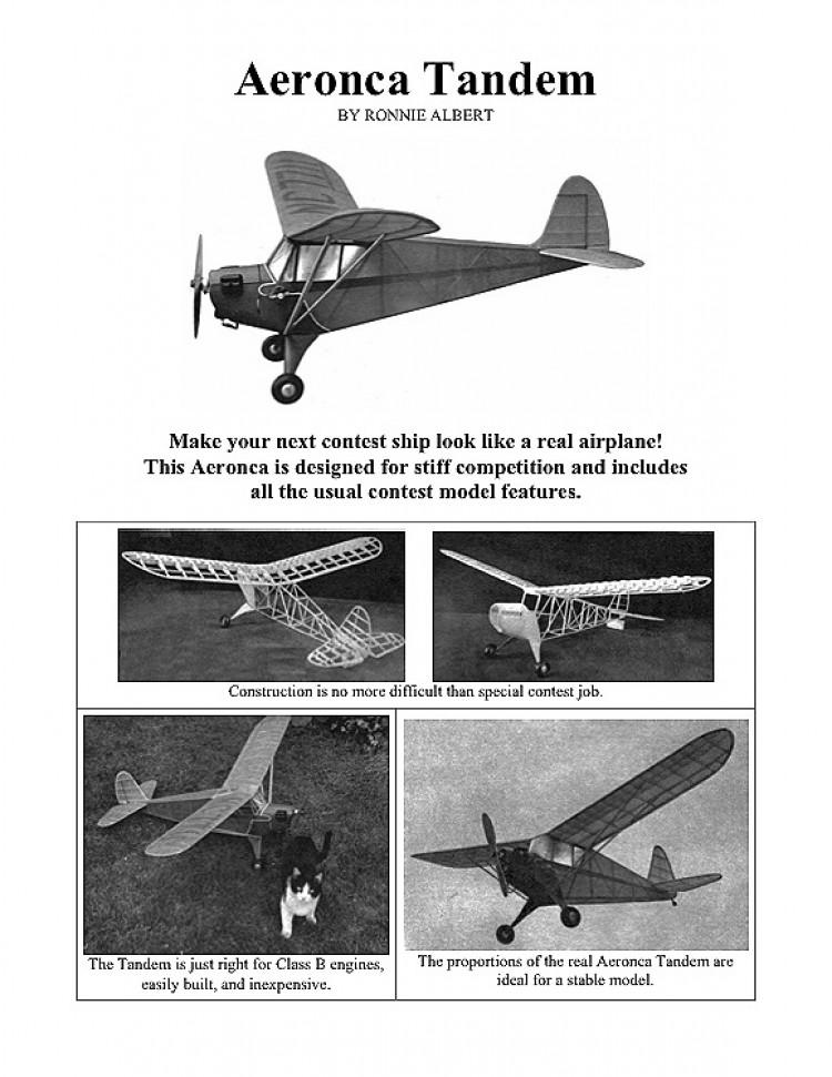 Aeronca Tandem (with article) model airplane plan