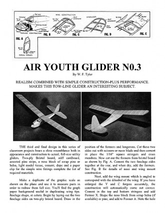 Air Youth Glider No. 3 model airplane plan