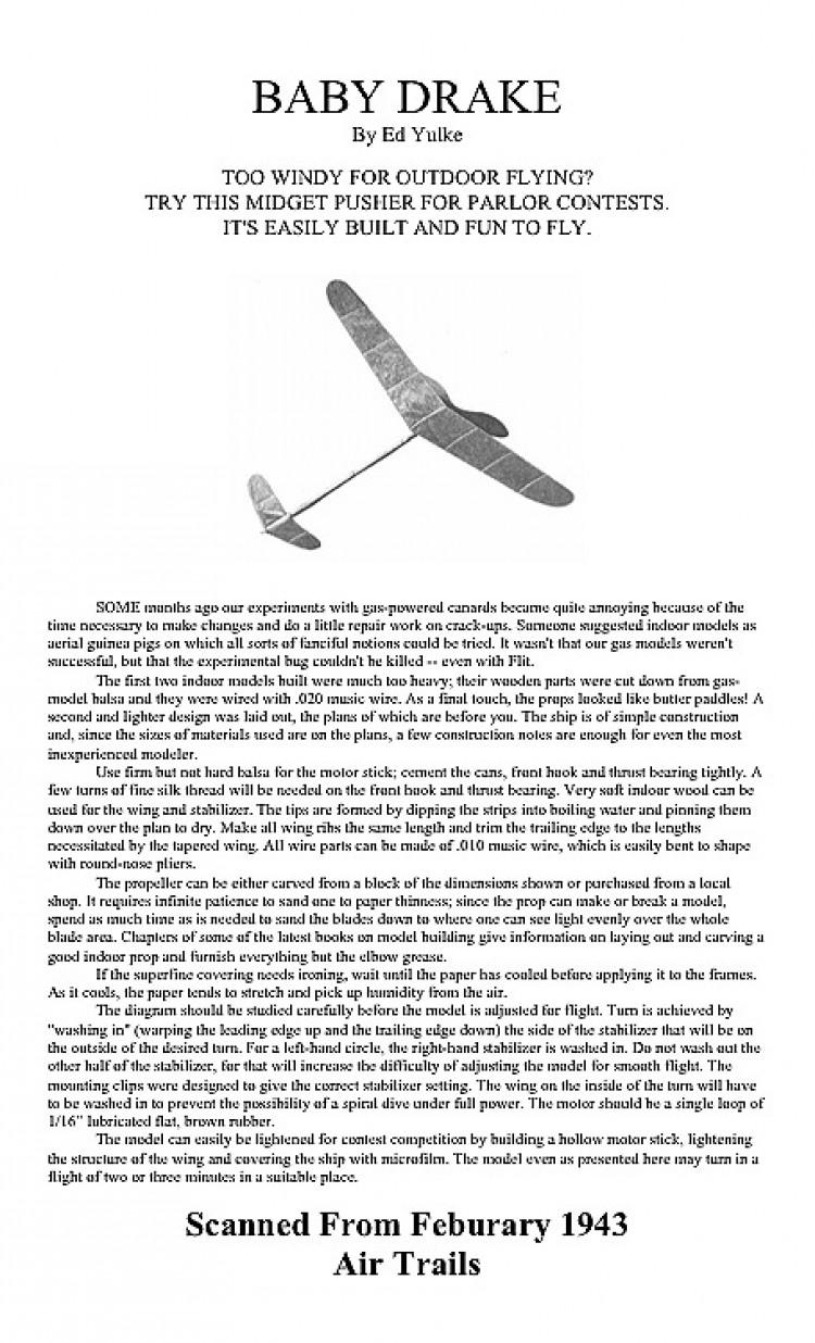 BABY DRAKE. model airplane plan