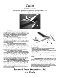 cadet model airplane plan