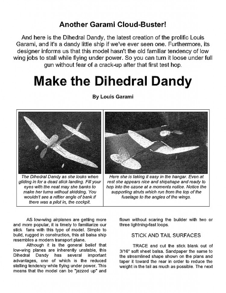 Dandy model airplane plan