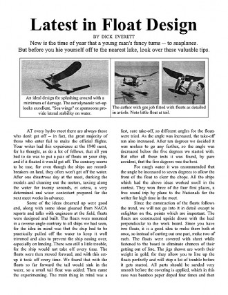 Float Design (article) model airplane plan