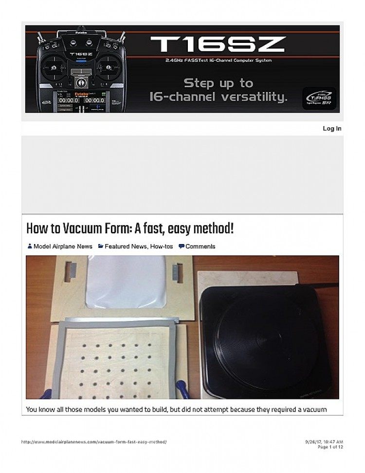 How to vaccum form parts model airplane plan