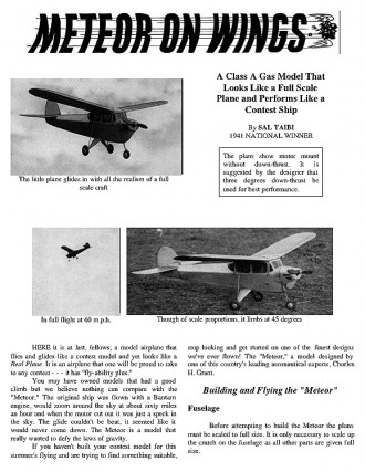Meteor on Wings model airplane plan