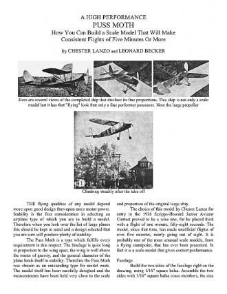 A Hight Performance  Puss Moth. model airplane plan