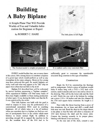 Baby Biplane (with article) model airplane plan
