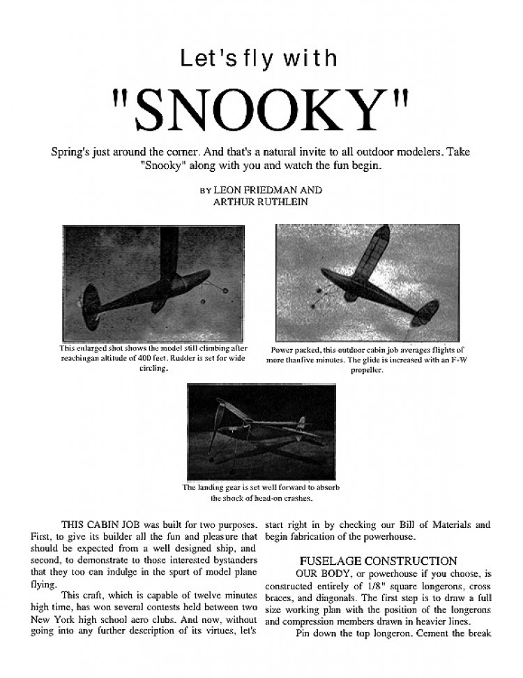 SNOOKY model airplane plan