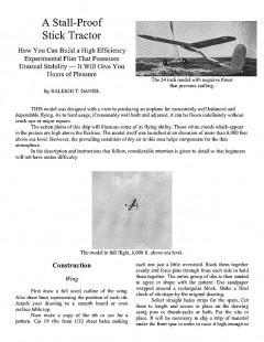 A Stall-Proof Stick Tractor (with article) model airplane plan