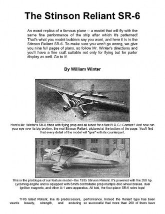 sr6 model airplane plan