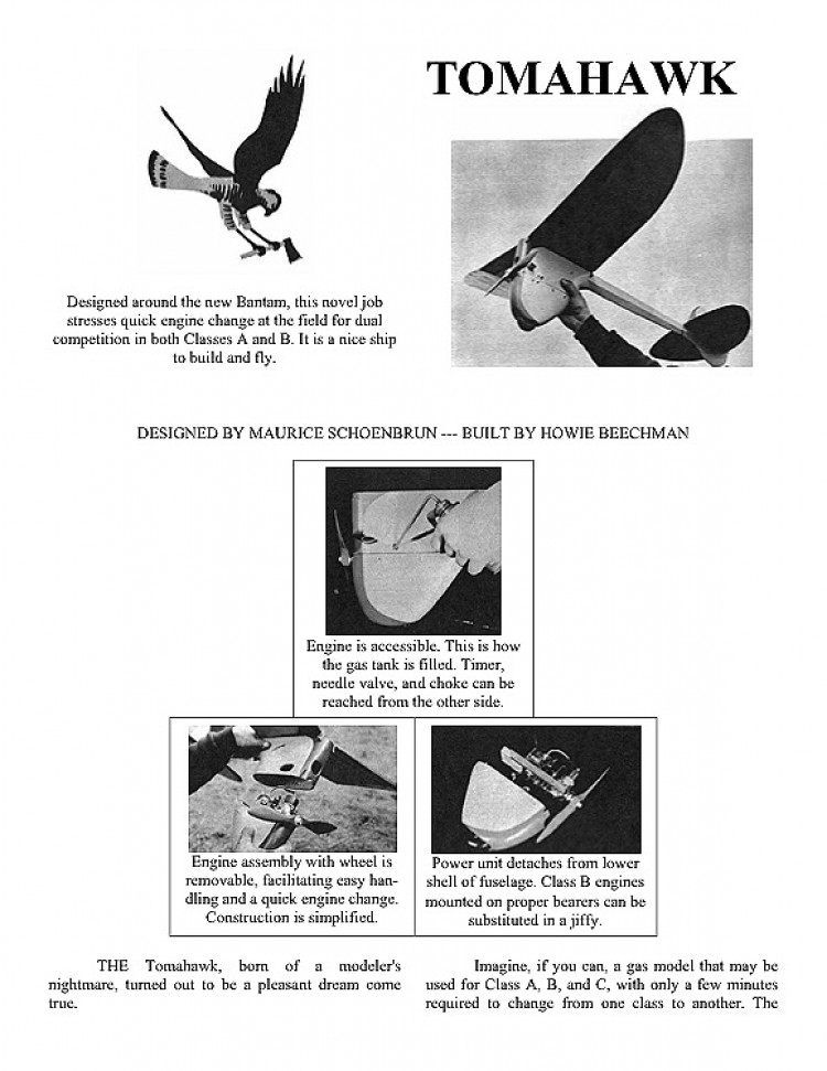 Tomahawk. model airplane plan