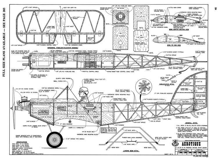Aerotique RCM-04-81 833 model airplane plan