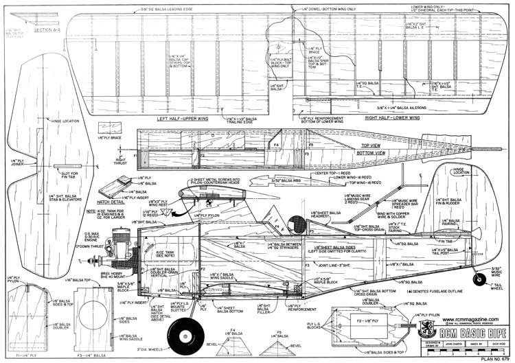 Basic Bipe model airplane plan
