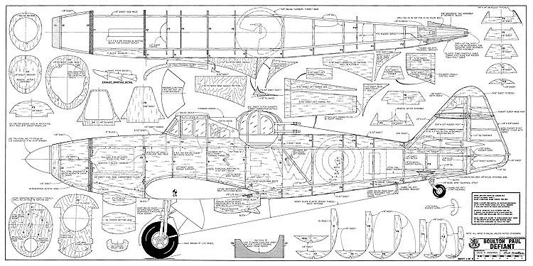 Boulton Paul Defiant model airplane plan