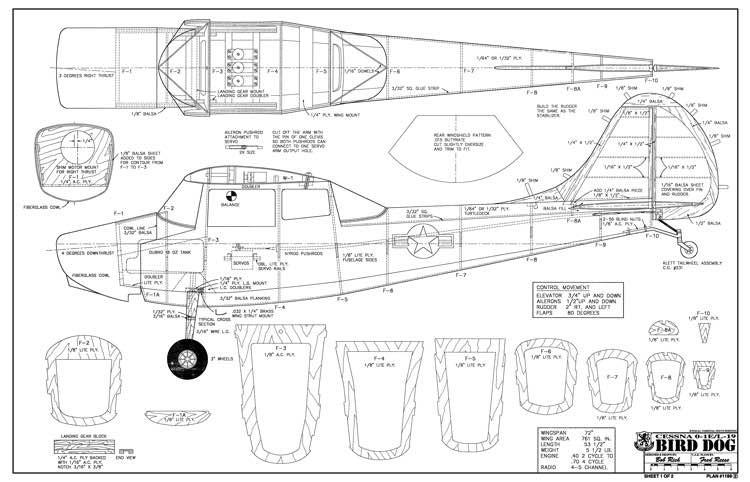 Cessna Bird Dog 72in model airplane plan
