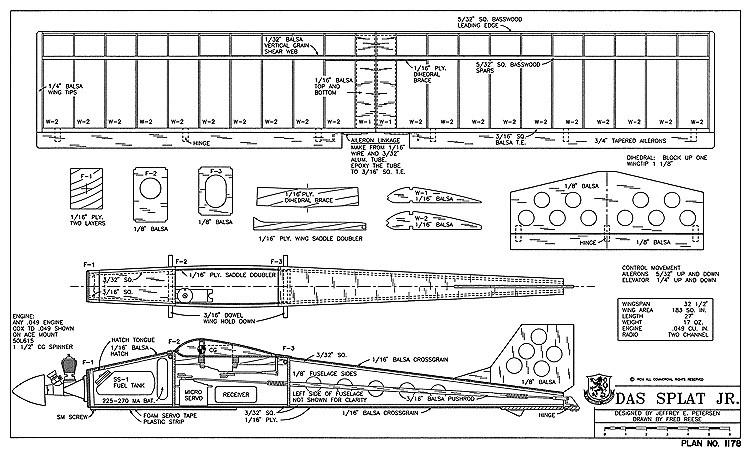 Das Splat Jr-RCM-10-94 1178 model airplane plan