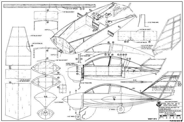 Dyke Delta JD-2 model airplane plan