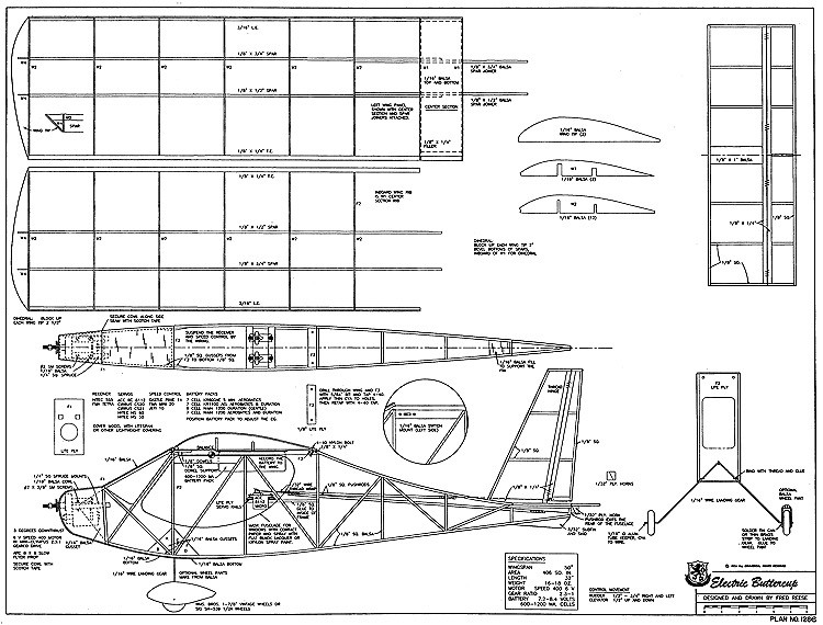 Electric Buttercup RCM-1286 model airplane plan