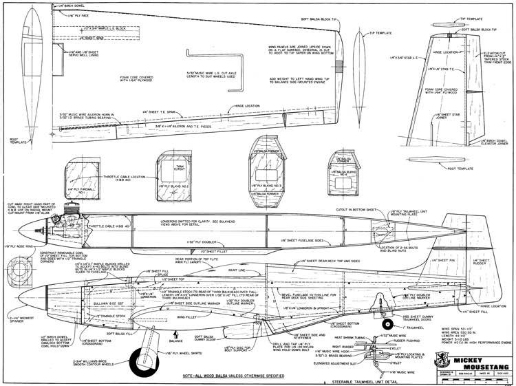Mickey Mousetang model airplane plan