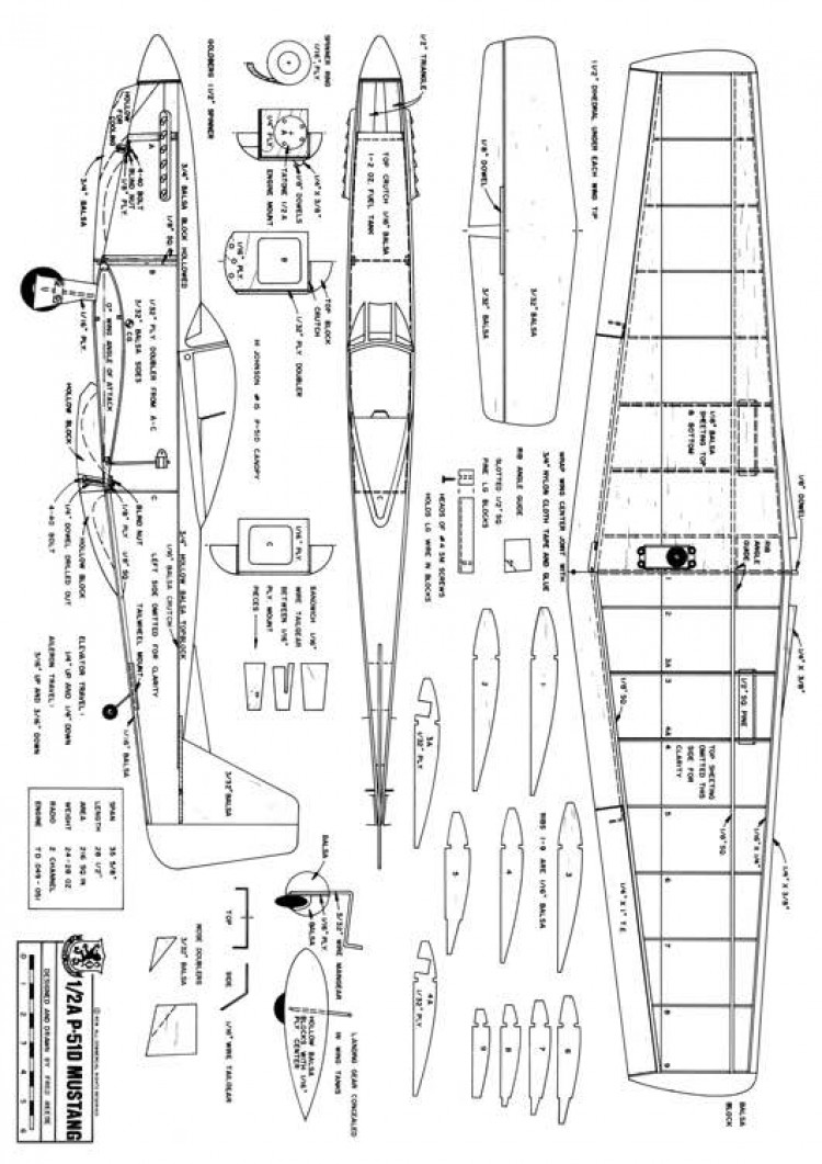 1/2A P-51D Mustang model airplane plan