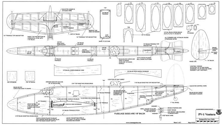 PV-1 Ventura model airplane plan