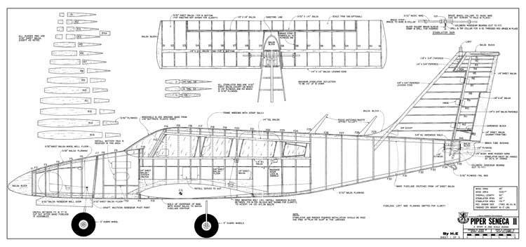 Piper Seneca II model airplane plan