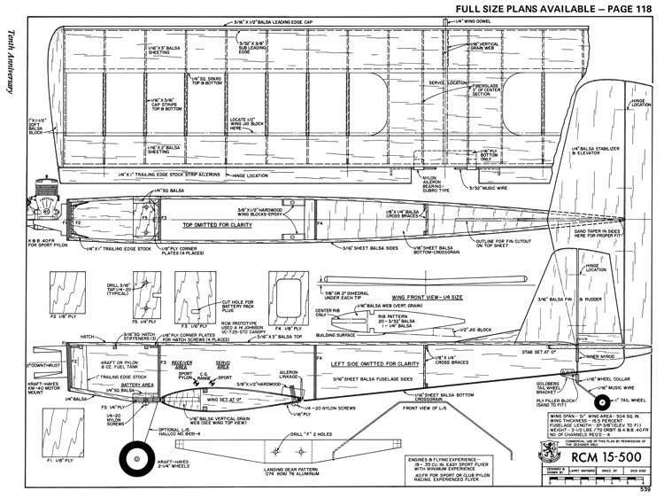 RCM 15-500 model airplane plan