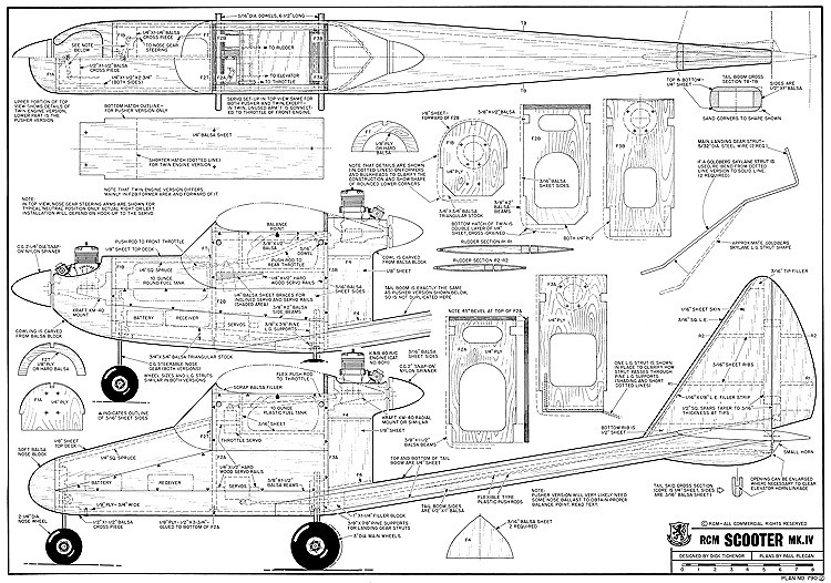 RCM Scooter IV-RCM-02-80 790 model airplane plan