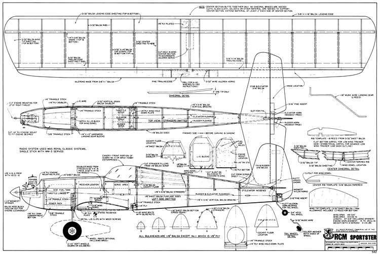 RCM Sportster model airplane plan