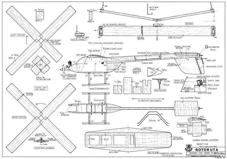 Rotoruta Autogyro model airplane plan