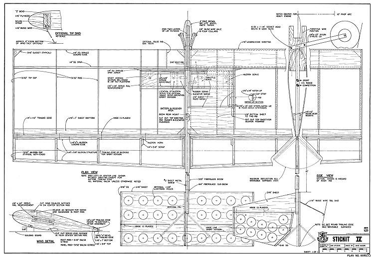 Stickit IV model airplane plan