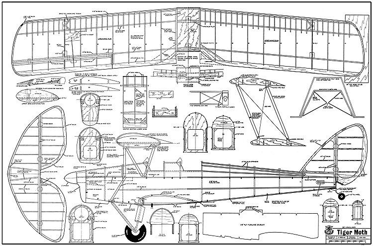 de Havilland DH.82 Tiger Moth model airplane plan